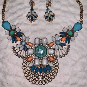 Multicolored Necklace and Earrings Set